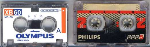 Microcassette and Minicassette tapes.